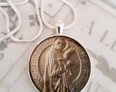 """Apostle Pendant - St Matthew with 20"""" Sterling Silver Chain - 28mm"""
