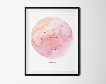 zodiac, aquarius, aquarius watercolor, zodiac print, aquarius constellation, constellation, stars, aquarius digital, zodiac constellation
