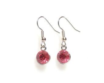 Birthstone earrings,  pink earrings,  october earrings,  silver earrings,  birthstone jewelry, pink tourmaline earrings