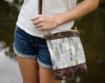 Summer Outdoors / Boho Feather Wanderer Crossbody Purse / canvas bag / waxed canvas / shoulder bag / travel bag / gifts for her under 50