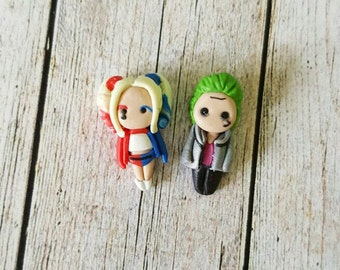 Harley Quinn and Joker  stud  earring suicide squad version. Harley Quinn jewelry. Dc comic jewelry. Dc comic  earrings. Clay. Kawaii comic.