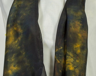 100% Silk Scarf in dark charcoal & gold