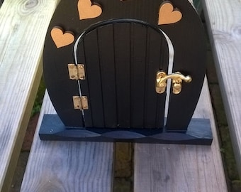Opening and free standing Black and Gold Fairy Door