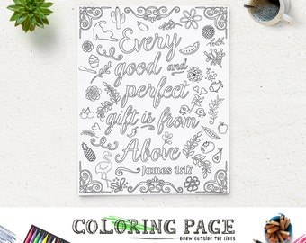 coloring page printable bible verse quote james 117 every good and perfect gift instant