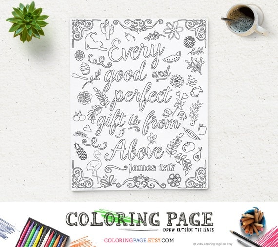 Coloring Page Printable Bible Verse Quote James 117 Every Good And Perfect Gift Instant Download Digital Pages For Adult