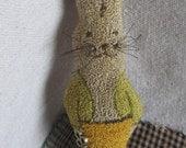 PATTERN ~ Garden Bunny - primitive needle punch PDF pattern for bowl filler - folk art