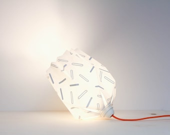 Origami hand screen printed Light / Portable lamp / White paper / Grey Orange /  inoowdesign / Antonin+Margaux