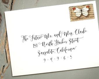 Extra Large Self-Inking Address Stamp, Custom Wedding Calligraphy Stamp, Wedding Envelope Return Addressing, RSVP Card Stamp, Melie Style