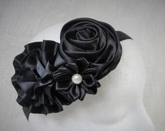 Black Headband, Baby Girl Headband, Baby Flower Headband, Newborn Headband, Baby Girl, Little Girl Headband, Flower Headband, Satin Headband