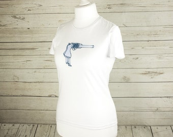 SALE Women's top, White t shirt, screen printed gun, Loaded with.. design, Casual clothing