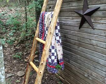 Log Quilt Ladder Rack - Quilt Display - Rustic Quilt Rack - Rug Display - Wood Quilt Rack - Rustic Quilt Ladder - Rustic Wedding Gift -