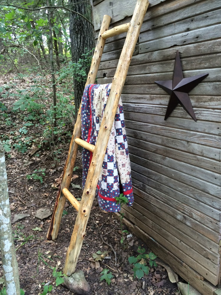 Log Quilt Ladder Rack Quilt Display Rustic Quilt By