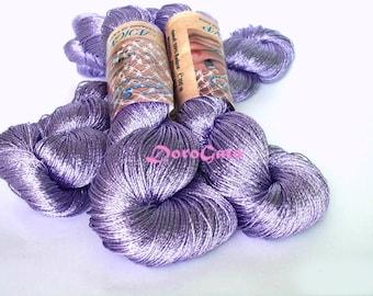 Purple  Viscose silk yarn, sparkle yarn, purple yarn, glitter, shining, Superfine, Lace weight, crochet yarn