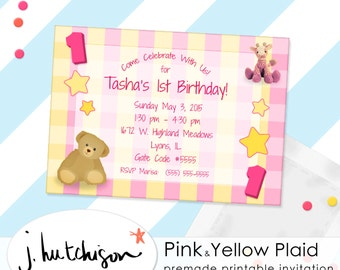 Commercial Use Instant Download Birthday Invite, Pink / Yellow for Children, Little Girls
