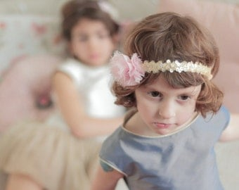gold sequins and chiffon flower headband - toddler and girl headband - hair accessories for girl