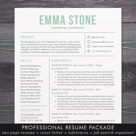 microsoft word resume templates free mac template modern design cover letter instant download mint artist downloads ma