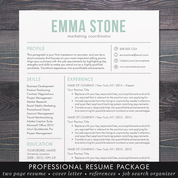 resume template modern design mac word free cover letter instant download mint microsoft office templates
