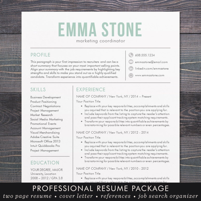 sale creative resume template modern design mac or pc word
