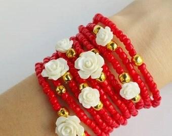 Metalized blue - friendship bracelet - layered bracelets - stretch bracelets - red and white - rose bracelets - white roses - perfect gift