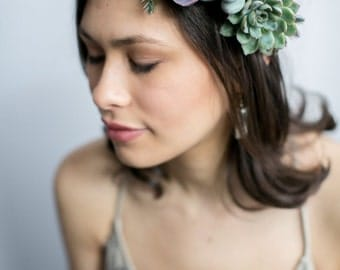 Flower crown |  Floral crown | real succulent crown |  living jewelry | succulent jewelry.