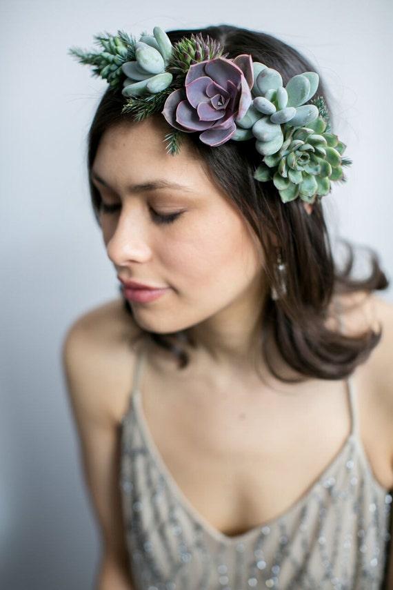 Couronne de fleurs |  Couronne florale | succulent véritable Couronne |  bijoux de vie | bijoux de succulente.
