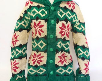 Vintage Gorgeous Winter Poinsettia Print Custom Wool Button Down Cowichan Holiday Sweater