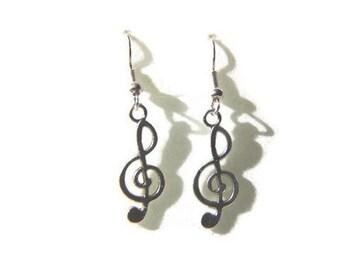 Treble Clef Earrings, Music Note Earrings, Treble Clef Jewelry, Musician Earrings