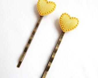 Metallic Gold Heart Hair Pins Womens Gift Gold Hair Accessories Heart Bobby Pins Cute Hair Heart Hair Clips Heart Hair Stick Girls Hair Pins