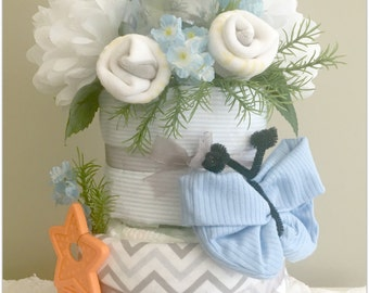 Baby Blue and Grey 2 layer Baby Shower Decoration Diaper Cake