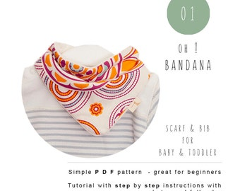 Sewing baby pattern. Bandana Bib PDF. Baby scarf bib tutorial - Instant download - Baby and children sewing pattern. Drool bib.
