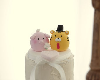 Tiger and  pig wedding cake topper---Chiness Zodiac wedding cake topper