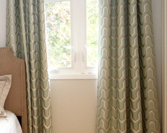 "Custom Drapes ""Hathaway"", Geometric Drapes, Grommet Panels, Drapery Panels, Made-to-Order"