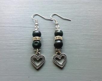 Heart Earrings, Serpentine Earrings, Gemstone Earrings, Dangle Earrings, Gemstone Jewelry, Heart Jewelry, Dangling Earrings, Gifts for her