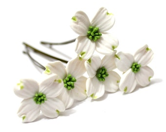 White Dogwood Hair Pins, Bridal White Hair Flowers, Hair Pins, Flowers Set 6
