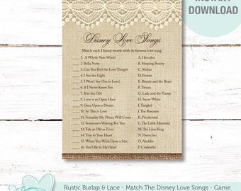 Rustic Burlap and Lace Match The Disney Love Songs, Bridal Shower Game Printable, Disney Songs Game, Instant Download, Love Songs Game, 3R