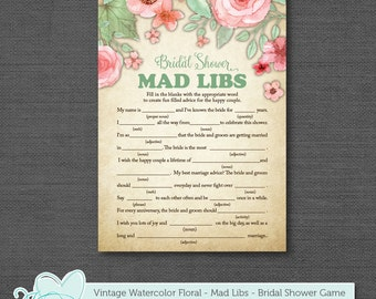 Mad Libs, Bridal Shower Game, Vintage Watercolor Floral, Instant Download, Printable, Green, Pink, Cottage Chic, Rustic, Country, 004A