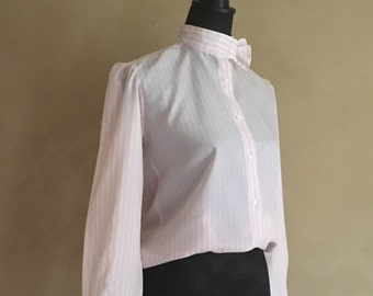 Vintage 80's High Neck Striped Pink & White Blouse Pin stripes