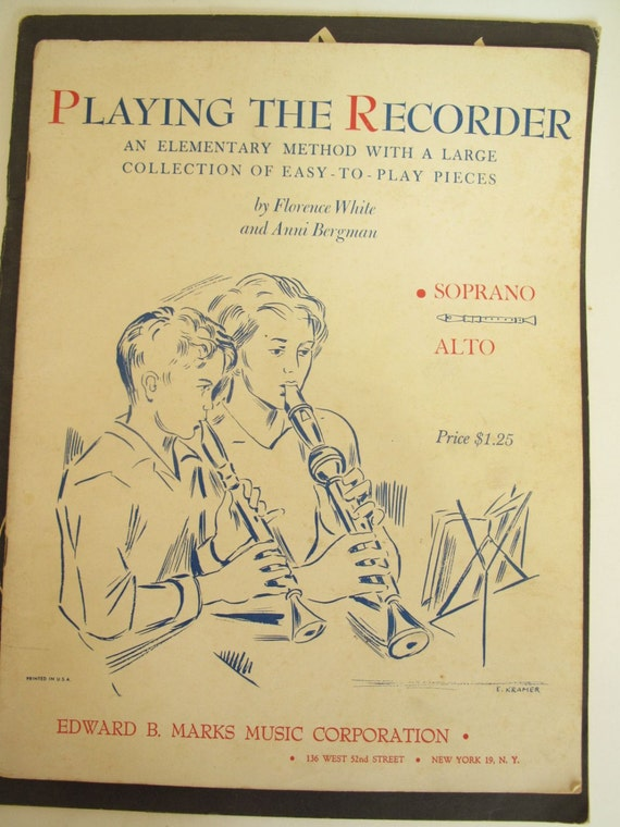 Dolmetsch descant recorder plus five instructional books from 1960s, recorder music, recorder sheet music, Dolmetsch recorder with cleaner