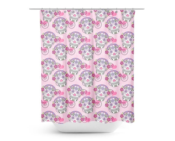 Pink Sugar Skulls Shower Curtain Kids Shower Curtain