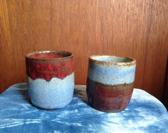 Two Matching Blue and Red Wabi Sabi Cups