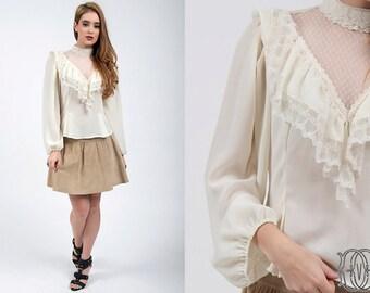 vintage 70s blouse vintage 70s lace peasant blouse vintage boho bohemian blouse vintage 1970s top