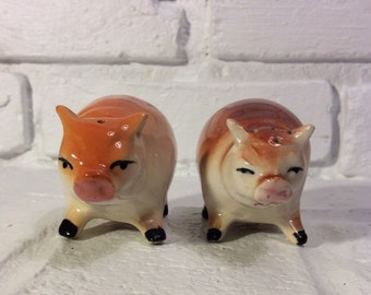 Vintage Pair of Hog/Pig Salt & Pepper Shakers, Made in Japan.