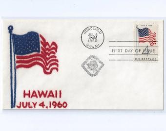 VELVATONE  50 Star Flag Postal Stationery First Day Cachet Honolulu, Hawaii July 4, 1960