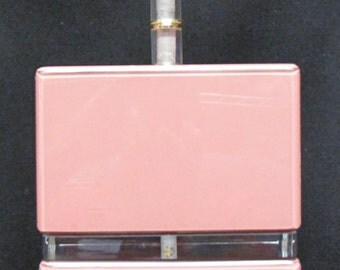 Vintage Thick Pink Mauve Lucite Block Table Lamp Carl Springer Style