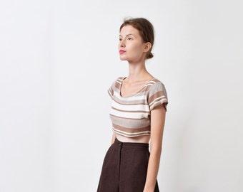1990s Striped Cream and Beige Crop Top 90s Vintage Ribbed Cotton Scoop Neck Tee Minimal XS S M