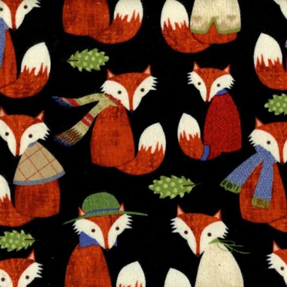 Mr Fox Black Flannel Fabric Yardage. Timeless Treasures