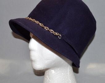 Vintage Mod Cloche - 1960s, Purple Wool, Henry Pollak