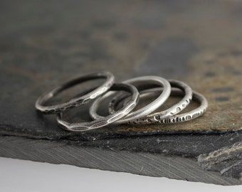 Set of 5 Silver Rings,Stacking Rings,Hammered Ring,Sterling Silver,Band Ring,Staking Silver Ring,Dainty Stacking Ring,Stackable Ring