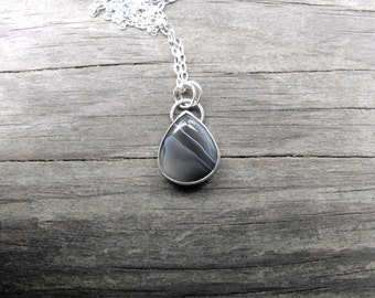 Botswana Agate Necklace Sterling Silver Botswana Agate Pendant Unique Silver Necklace Silver Agate Pendant