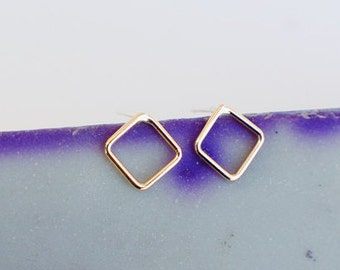 Simple Silver or Gold Square Outline Stud Earrings - Available in Solid Sterling Silver (92.5) or 14K Gold Filled